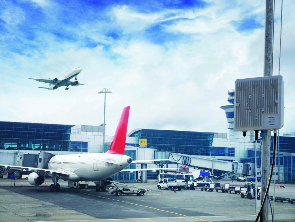 Anritsu remote spectrum monitor positioned at airport